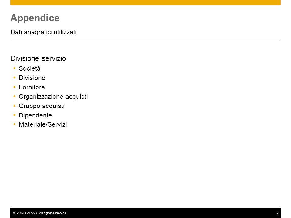©2013 SAP AG. All rights reserved.7 Appendice Dati anagrafici utilizzati Divisione servizio Società Divisione Fornitore Organizzazione acquisti Gruppo