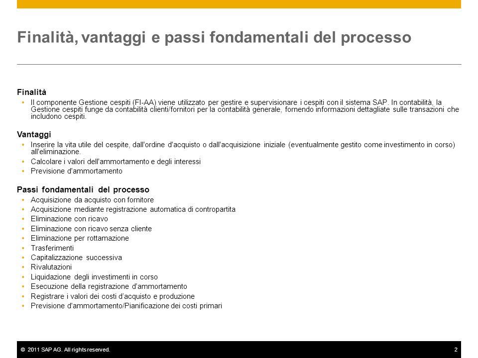 ©2011 SAP AG. All rights reserved.2 Finalità, vantaggi e passi fondamentali del processo Finalità Il componente Gestione cespiti (FI-AA) viene utilizz