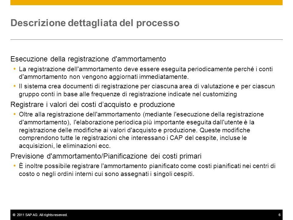 ©2011 SAP AG. All rights reserved.6 Descrizione dettagliata del processo Esecuzione della registrazione d'ammortamento La registrazione dell'ammortame
