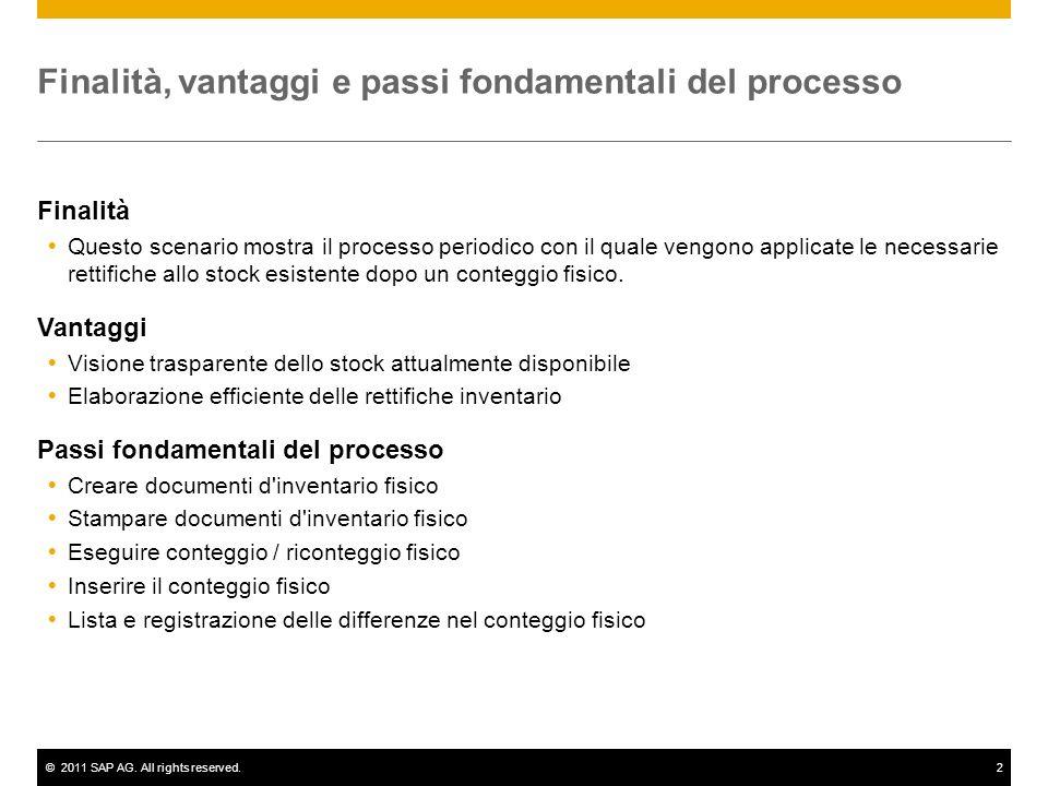 ©2011 SAP AG. All rights reserved.2 Finalità, vantaggi e passi fondamentali del processo Finalità Questo scenario mostra il processo periodico con il