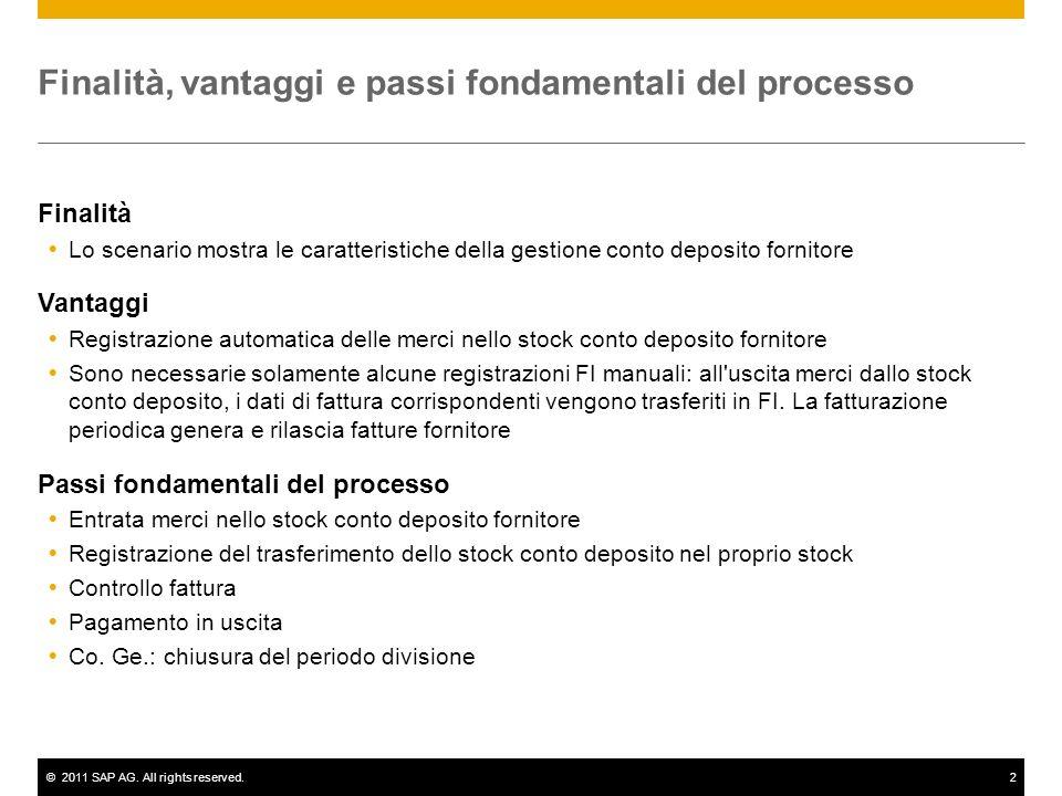 ©2011 SAP AG. All rights reserved.2 Finalità, vantaggi e passi fondamentali del processo Finalità Lo scenario mostra le caratteristiche della gestione