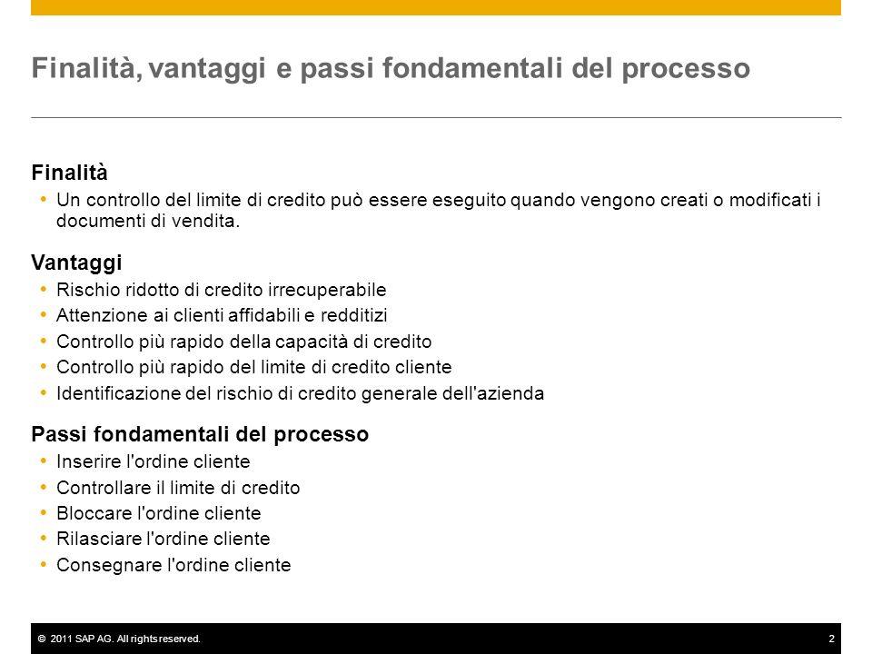 ©2011 SAP AG. All rights reserved.2 Finalità, vantaggi e passi fondamentali del processo Finalità Un controllo del limite di credito può essere esegui