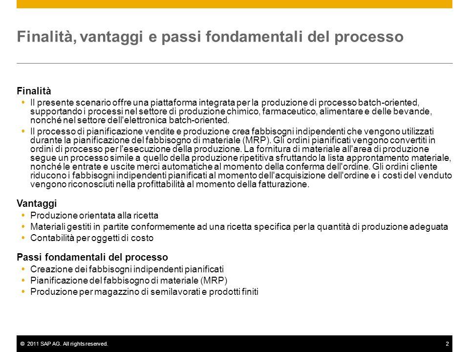 ©2011 SAP AG. All rights reserved.2 Finalità, vantaggi e passi fondamentali del processo Finalità Il presente scenario offre una piattaforma integrata