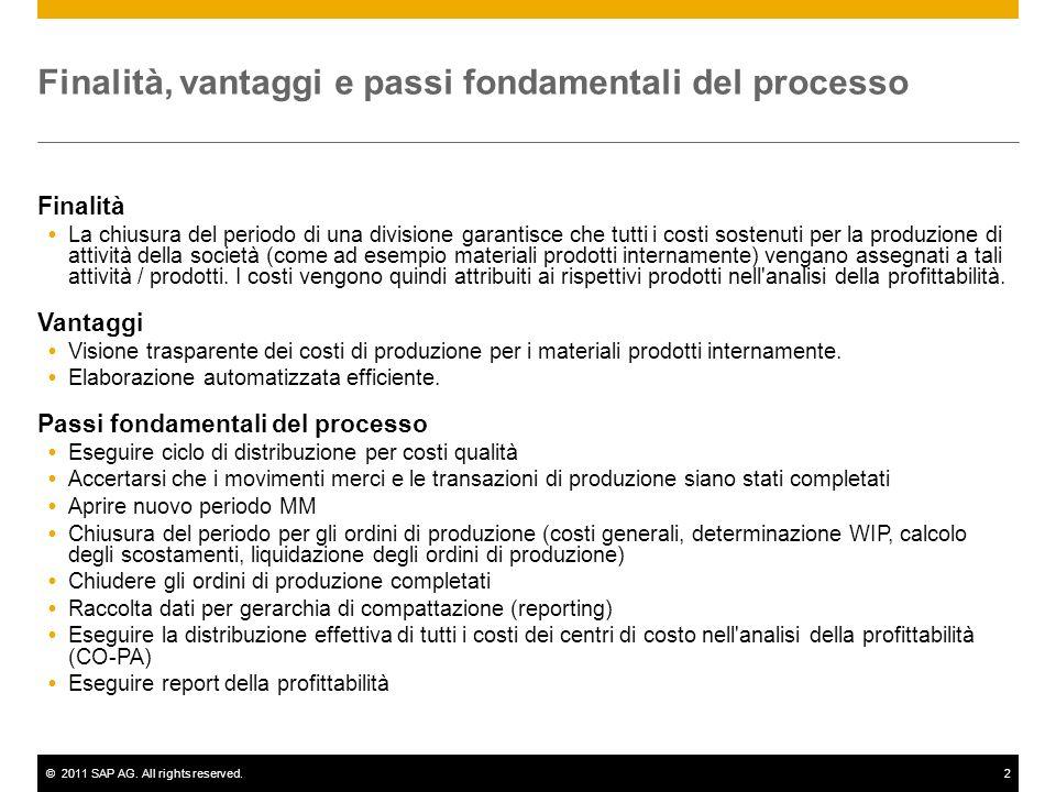 ©2011 SAP AG. All rights reserved.2 Finalità, vantaggi e passi fondamentali del processo Finalità La chiusura del periodo di una divisione garantisce