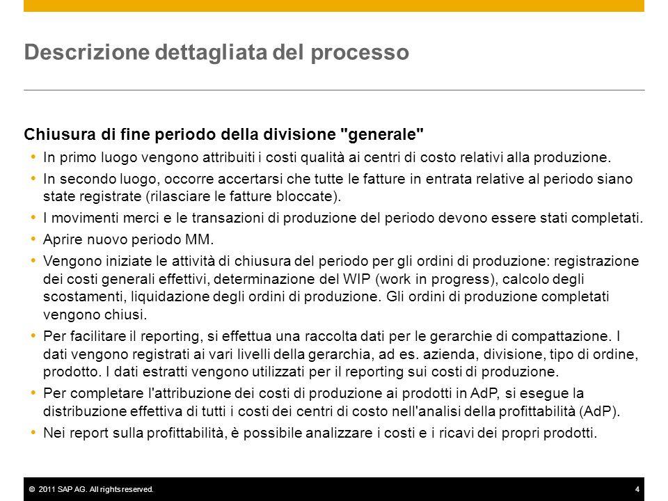 ©2011 SAP AG. All rights reserved.4 Descrizione dettagliata del processo Chiusura di fine periodo della divisione