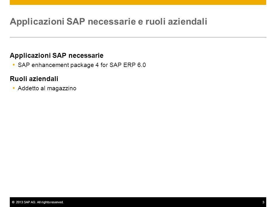 ©2013 SAP AG. All rights reserved.3 Applicazioni SAP necessarie e ruoli aziendali Applicazioni SAP necessarie SAP enhancement package 4 for SAP ERP 6.