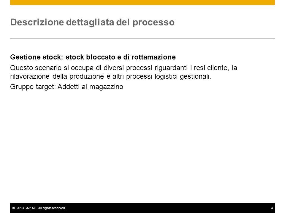 ©2013 SAP AG. All rights reserved.4 Descrizione dettagliata del processo Gestione stock: stock bloccato e di rottamazione Questo scenario si occupa di