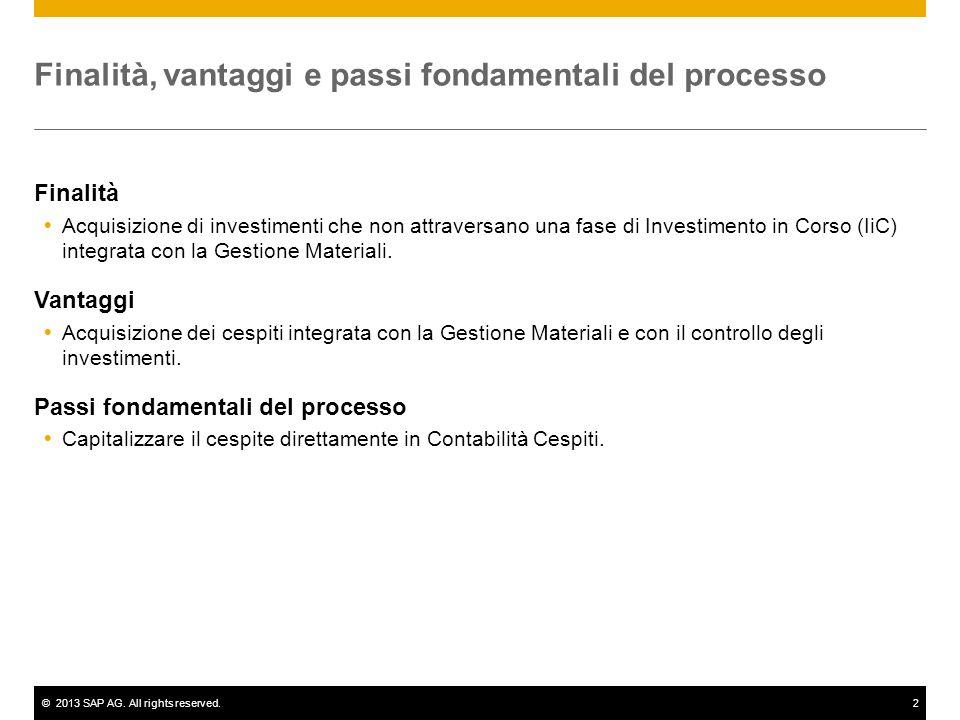 ©2013 SAP AG. All rights reserved.2 Finalità, vantaggi e passi fondamentali del processo Finalità Acquisizione di investimenti che non attraversano un