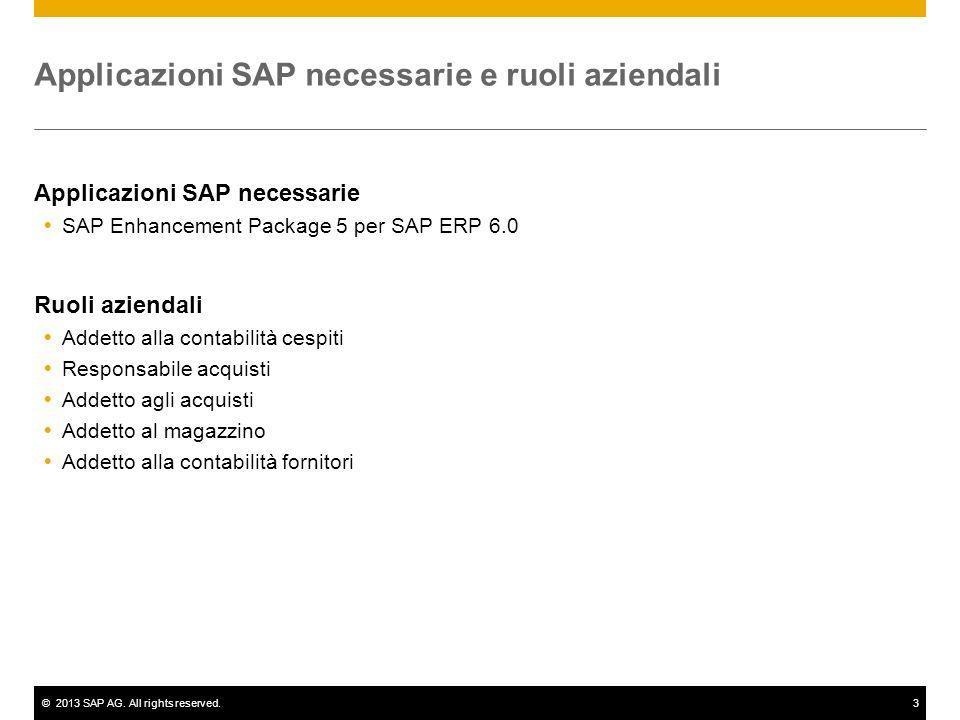 ©2013 SAP AG. All rights reserved.3 Applicazioni SAP necessarie e ruoli aziendali Applicazioni SAP necessarie SAP Enhancement Package 5 per SAP ERP 6.