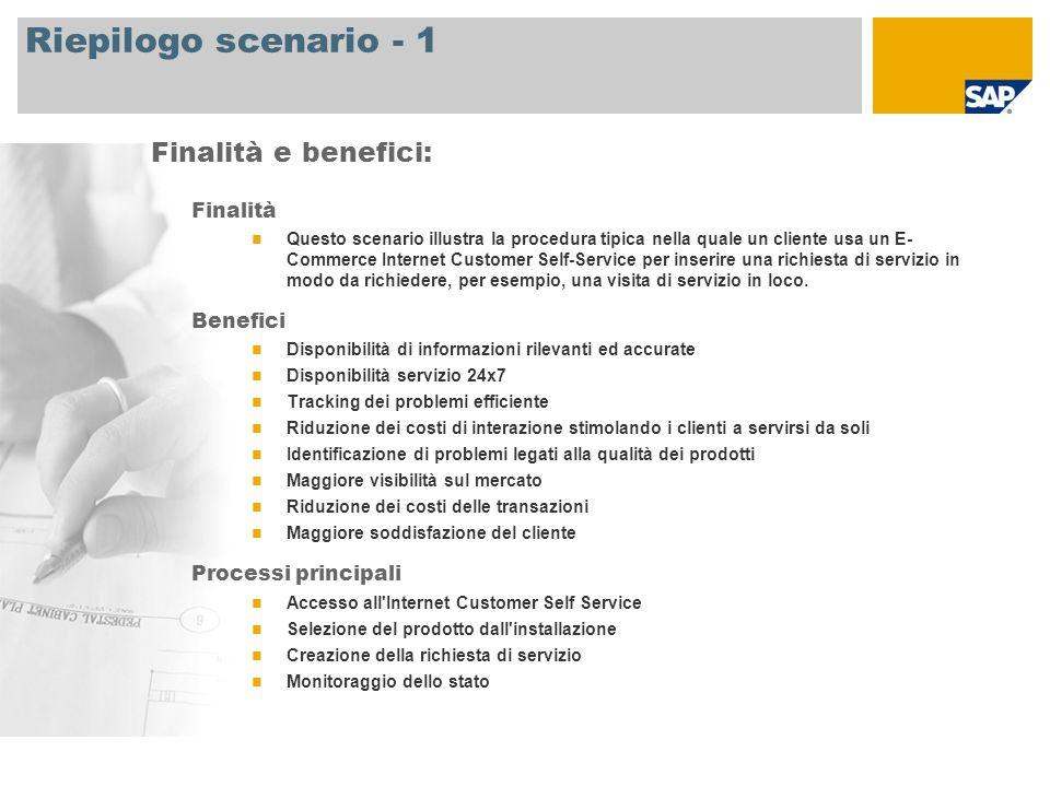 Riepilogo scenario - 1 Finalità Questo scenario illustra la procedura tipica nella quale un cliente usa un E- Commerce Internet Customer Self-Service