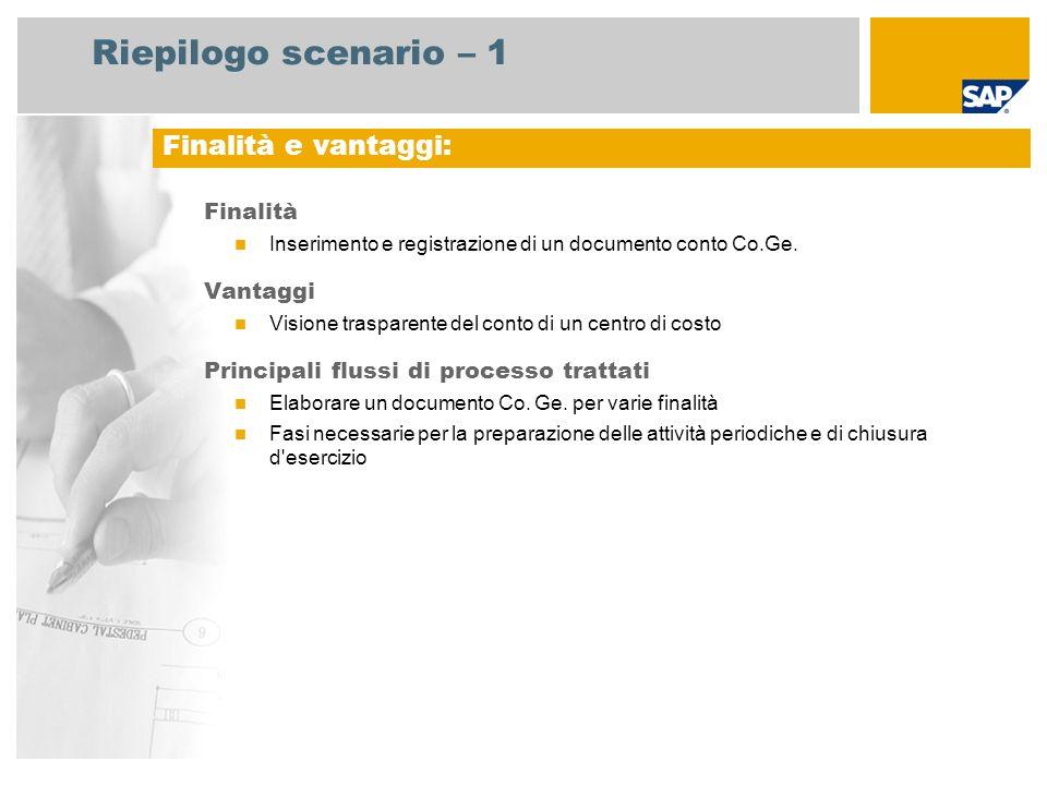 Riepilogo scenario – 1 Finalità Inserimento e registrazione di un documento conto Co.Ge.