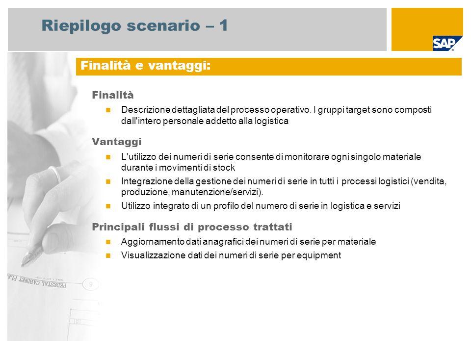 Riepilogo scenario – 1 Finalità Descrizione dettagliata del processo operativo. I gruppi target sono composti dall'intero personale addetto alla logis