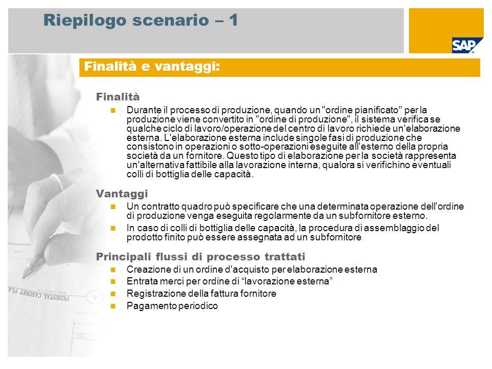 Riepilogo scenario – 1 Finalità Durante il processo di produzione, quando un ordine pianificato per la produzione viene convertito in ordine di produzione , il sistema verifica se qualche ciclo di lavoro/operazione del centro di lavoro richiede un elaborazione esterna.