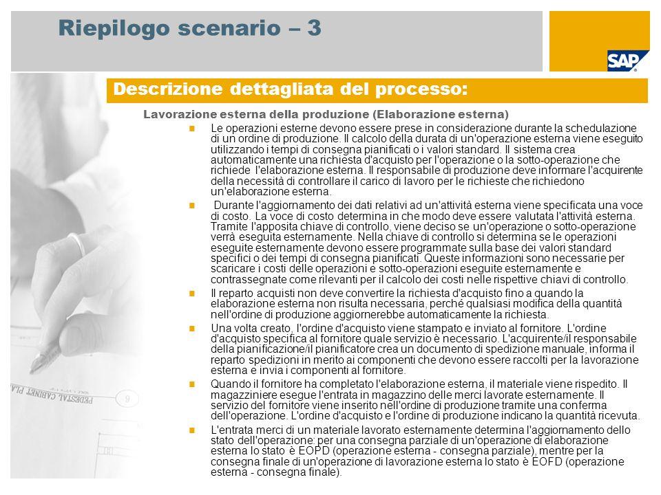 Riepilogo scenario – 3 Lavorazione esterna della produzione (Elaborazione esterna) Le operazioni esterne devono essere prese in considerazione durante la schedulazione di un ordine di produzione.