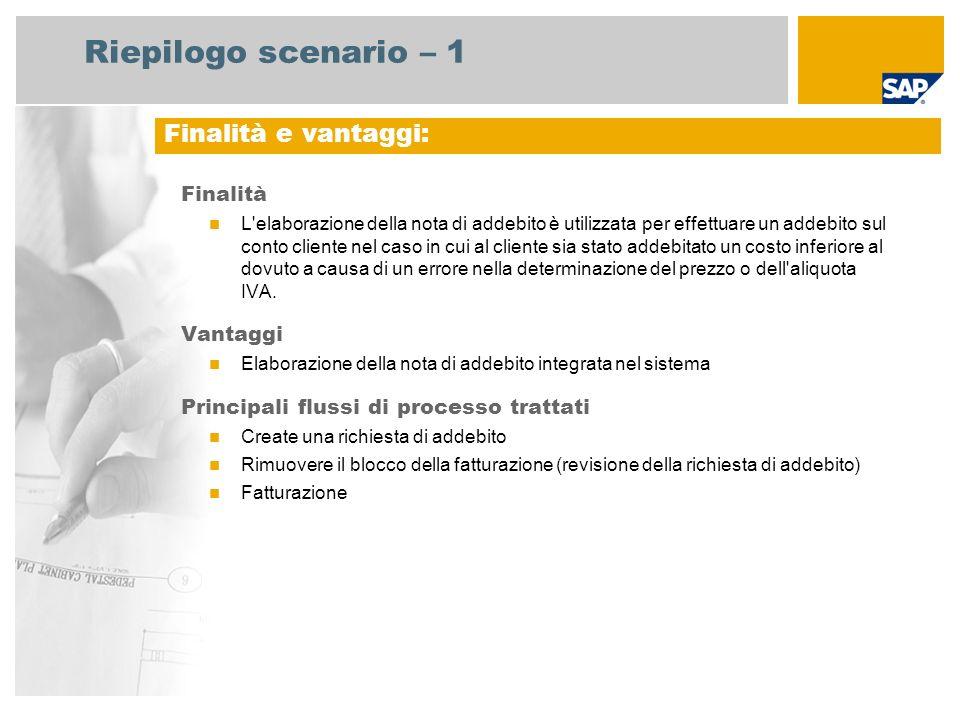 Riepilogo scenario – 1 Finalità L'elaborazione della nota di addebito è utilizzata per effettuare un addebito sul conto cliente nel caso in cui al cli