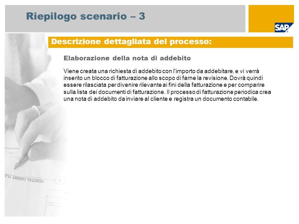 Riepilogo scenario – 3 Elaborazione della nota di addebito Viene creata una richiesta di addebito con l'importo da addebitare, e vi verrà inserito un