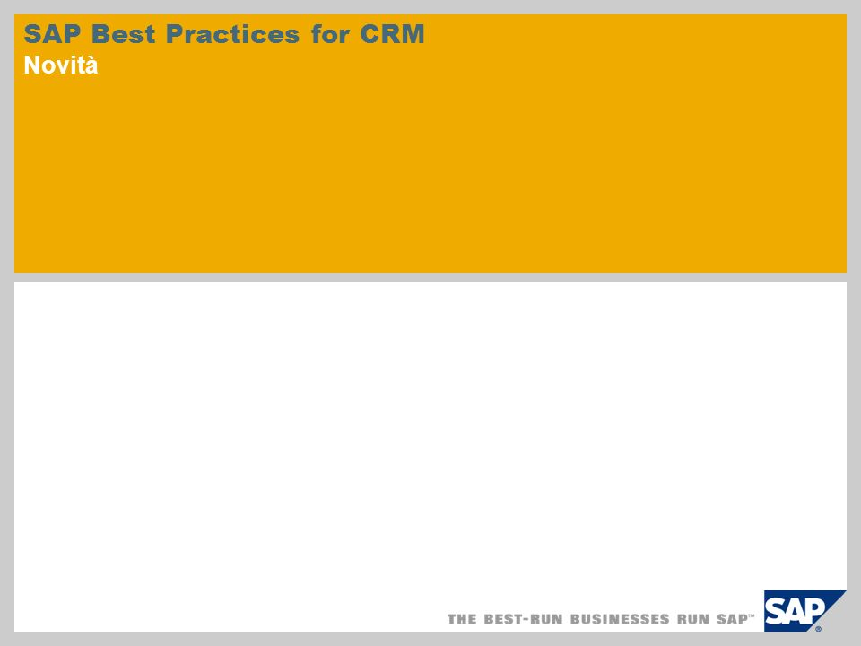 SAP Best Practices for CRM Novità