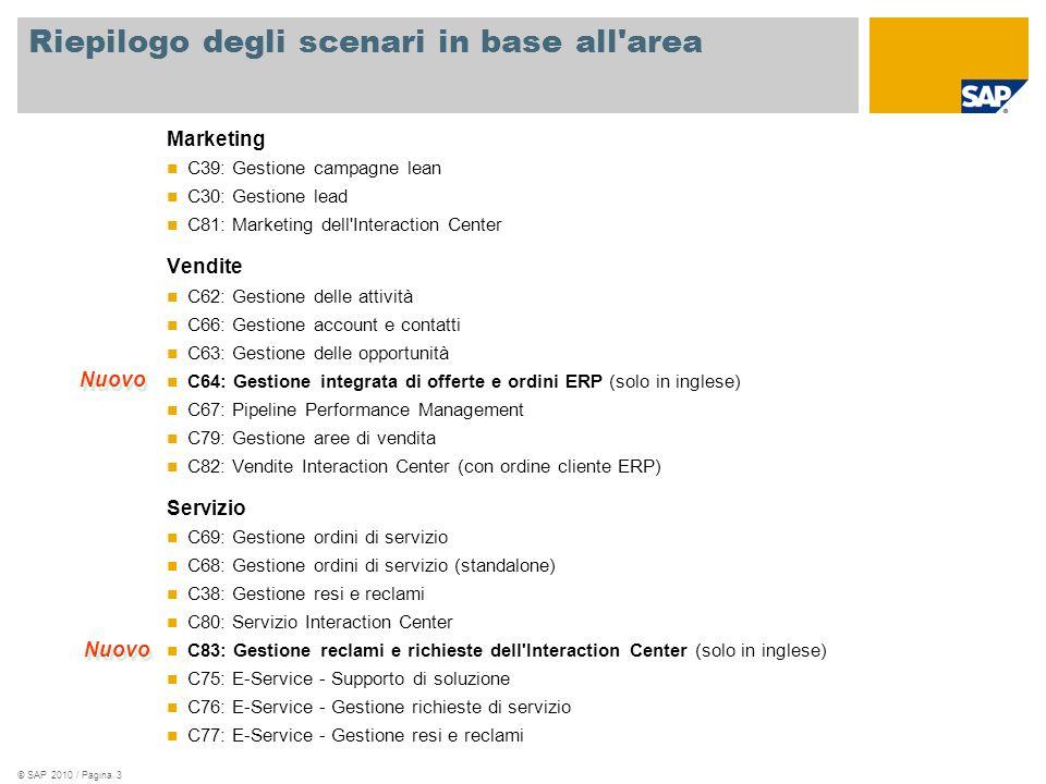 © SAP 2010 / Pagina 3 Riepilogo degli scenari in base all area Marketing C39: Gestione campagne lean C30: Gestione lead C81: Marketing dell Interaction Center Vendite C62: Gestione delle attività C66: Gestione account e contatti C63: Gestione delle opportunità C64: Gestione integrata di offerte e ordini ERP (solo in inglese) C67: Pipeline Performance Management C79: Gestione aree di vendita C82: Vendite Interaction Center (con ordine cliente ERP) Servizio C69: Gestione ordini di servizio C68: Gestione ordini di servizio (standalone) C38: Gestione resi e reclami C80: Servizio Interaction Center C83: Gestione reclami e richieste dell Interaction Center (solo in inglese) C75: E-Service - Supporto di soluzione C76: E-Service - Gestione richieste di servizio C77: E-Service - Gestione resi e reclami Nuovo