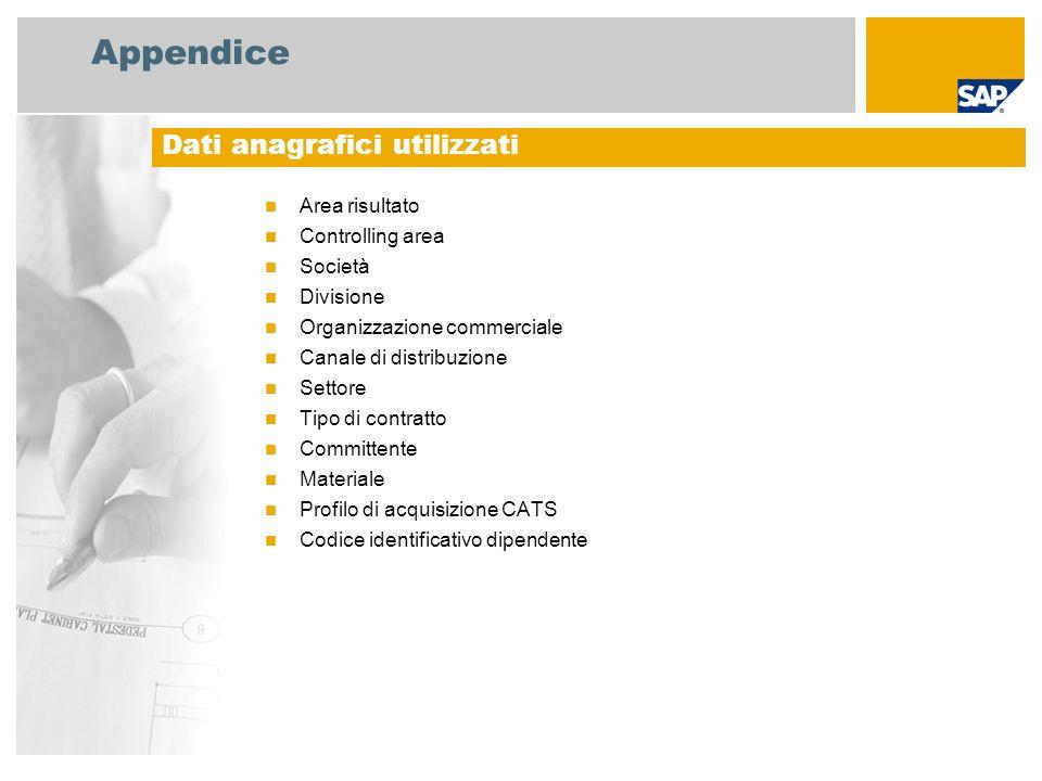 Appendice Area risultato Controlling area Società Divisione Organizzazione commerciale Canale di distribuzione Settore Tipo di contratto Committente M