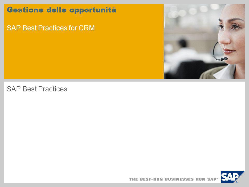 Gestione delle opportunità SAP Best Practices for CRM SAP Best Practices