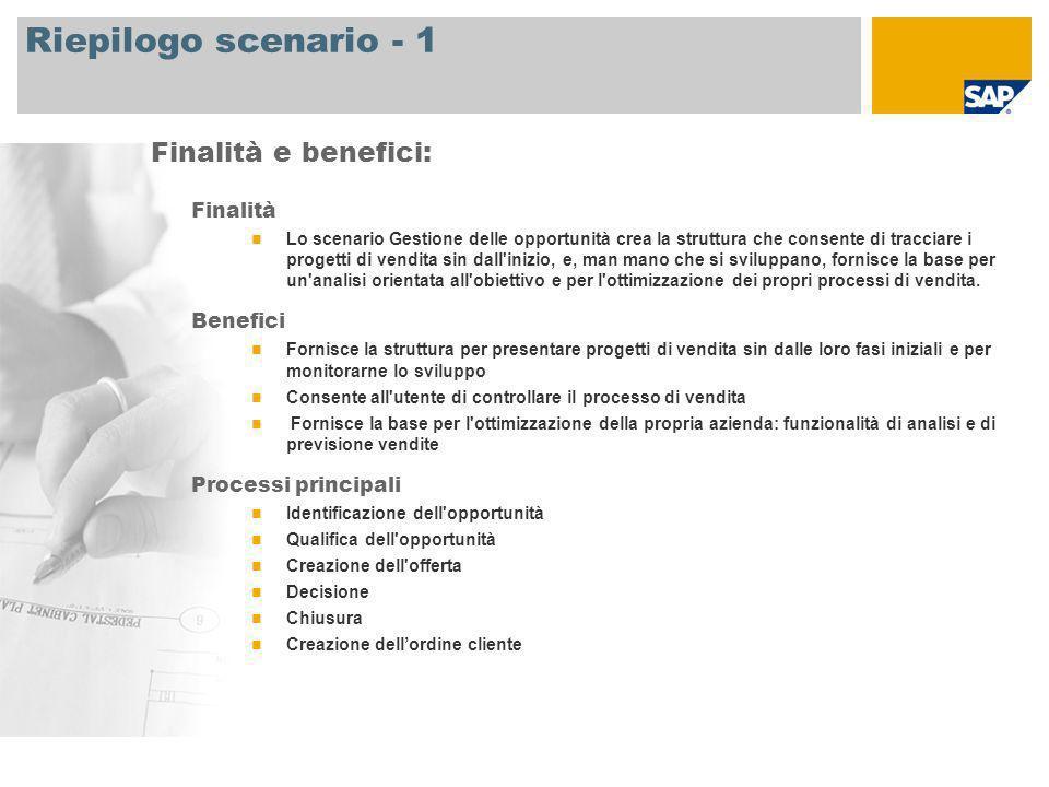 Riepilogo scenario - 2 Si richiede SAP CRM 2007 Ruoli aziendali coinvolti nei processi Direttore delle vendite Addetto alle vendite Applicazioni SAP necessarie: