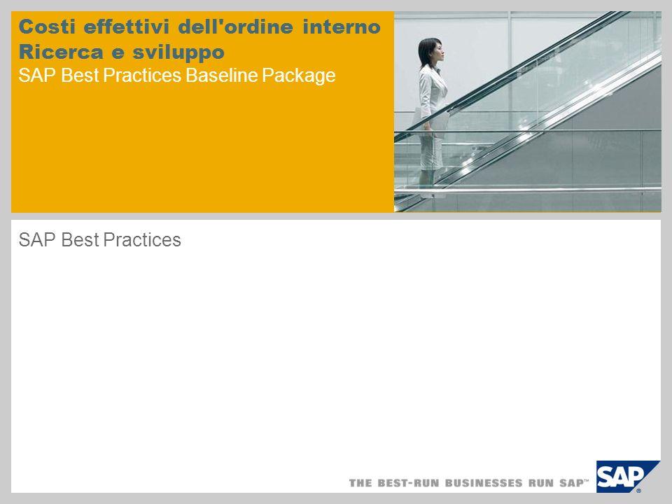 Costi effettivi dell'ordine interno Ricerca e sviluppo SAP Best Practices Baseline Package SAP Best Practices