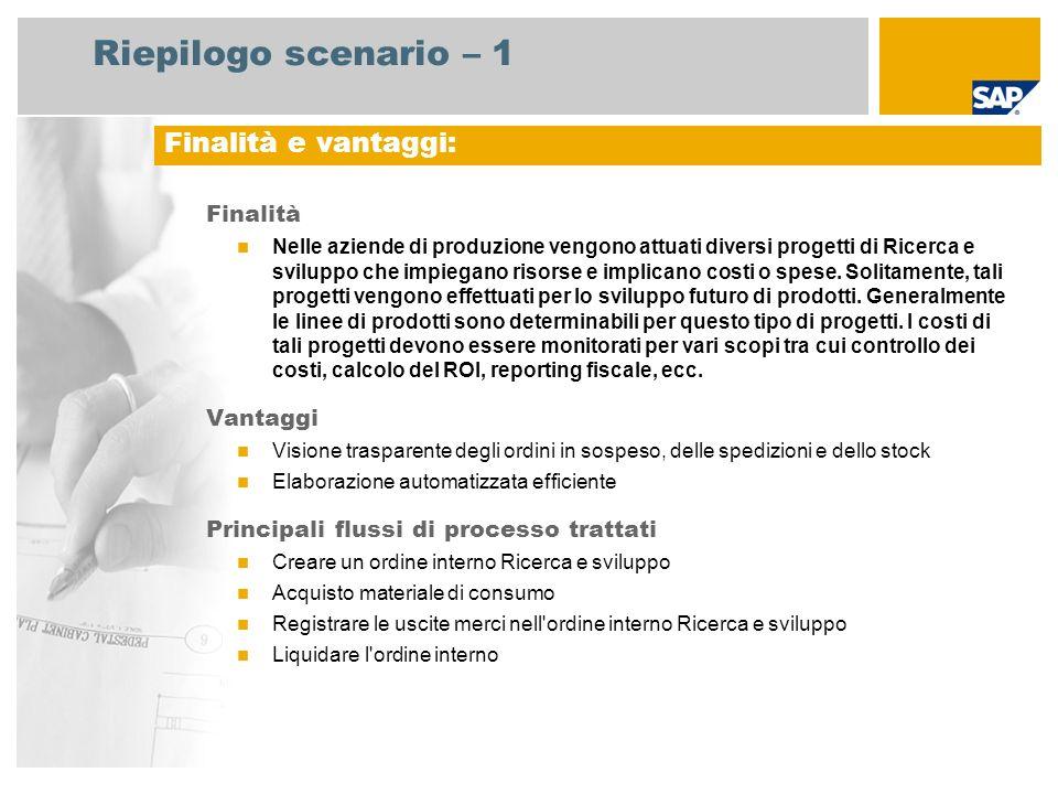 Riepilogo scenario – 1 Finalità Nelle aziende di produzione vengono attuati diversi progetti di Ricerca e sviluppo che impiegano risorse e implicano c