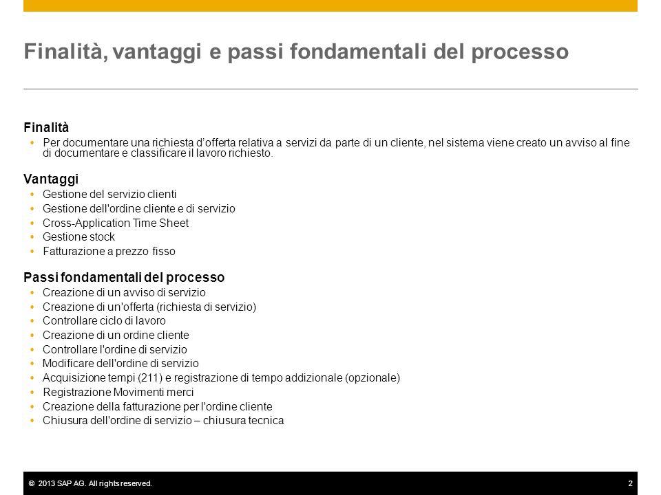 ©2013 SAP AG. All rights reserved.2 Finalità, vantaggi e passi fondamentali del processo Finalità Per documentare una richiesta dofferta relativa a se