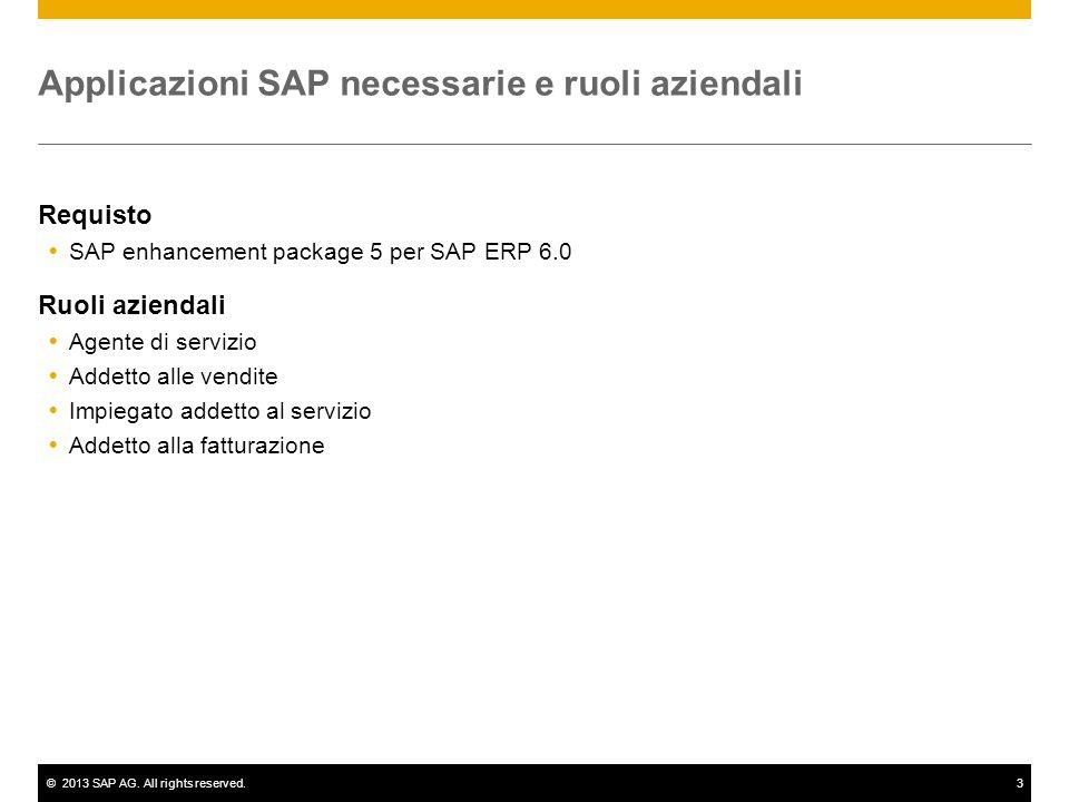 ©2013 SAP AG. All rights reserved.3 Applicazioni SAP necessarie e ruoli aziendali Requisto SAP enhancement package 5 per SAP ERP 6.0 Ruoli aziendali A