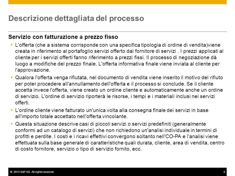 ©2013 SAP AG. All rights reserved.4 Descrizione dettagliata del processo Servizio con fatturazione a prezzo fisso L'offerta (che a sistema corrisponde