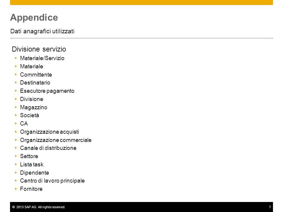 ©2013 SAP AG. All rights reserved.7 Appendice Dati anagrafici utilizzati Divisione servizio Materiale/Servizio Materiale Committente Destinatario Esec
