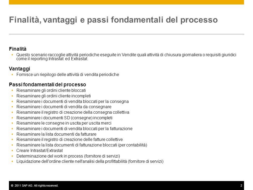 ©2011 SAP AG. All rights reserved.2 Finalità, vantaggi e passi fondamentali del processo Finalità Questo scenario raccoglie attività periodiche esegui
