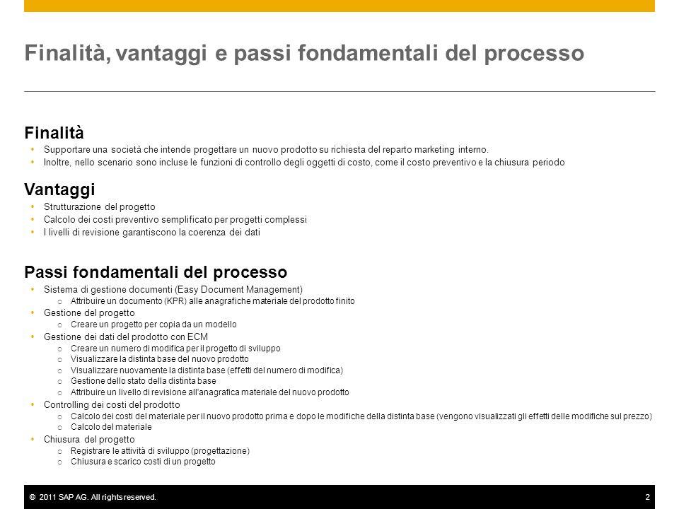 ©2011 SAP AG. All rights reserved.2 Finalità, vantaggi e passi fondamentali del processo Finalità Supportare una società che intende progettare un nuo