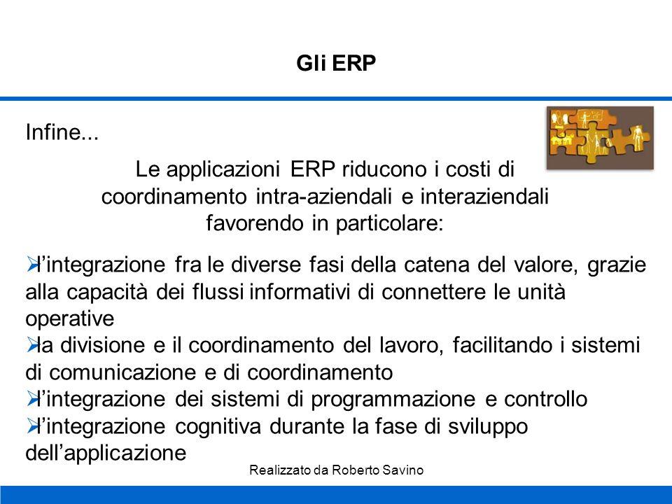 Realizzato da Roberto Savino Gli ERP Inoltre... Un sistema ERP incide sia sulla qualità del lavoro ma, soprattutto, sulla qualità del processo decisio