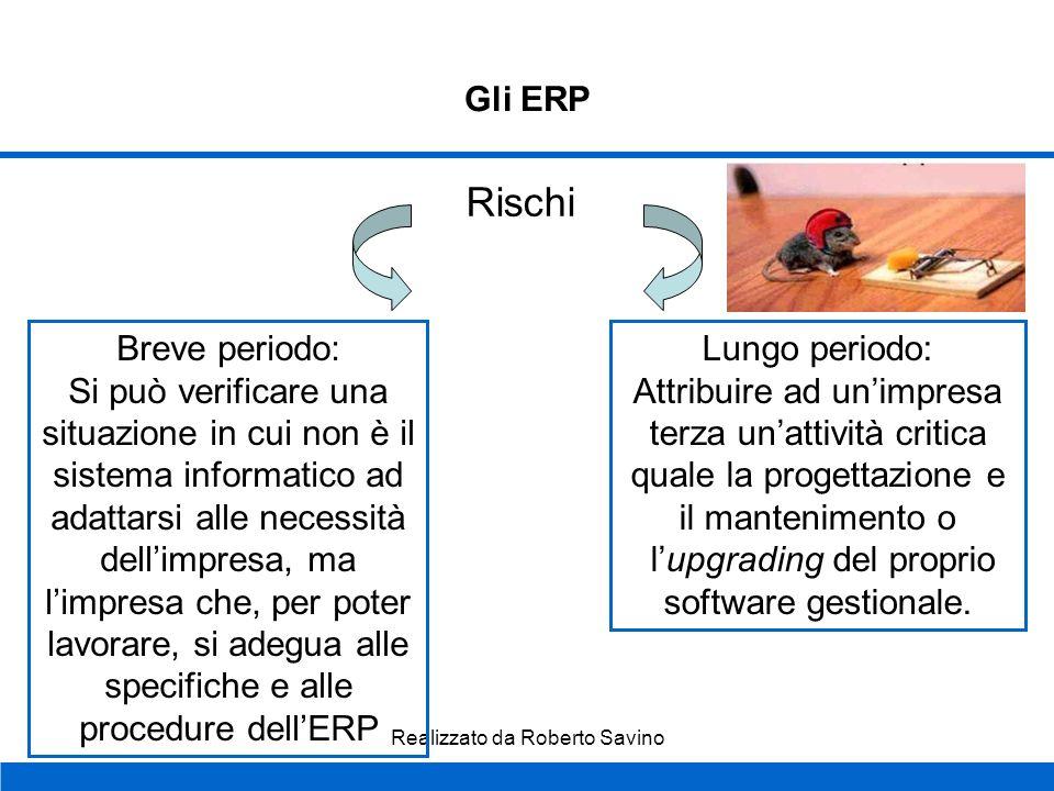 Realizzato da Roberto Savino Gli ERP Infine... Le applicazioni ERP riducono i costi di coordinamento intra-aziendali e interaziendali favorendo in par
