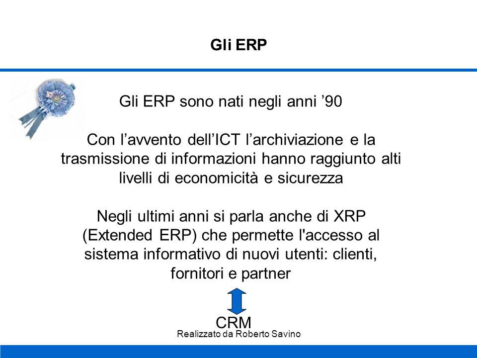 Realizzato da Roberto Savino Gli ERP Cosè un sistema informativo? Un sistema informativo è un sistema che organizza e gestisce in modo efficace le inf