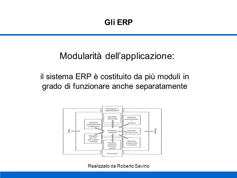Realizzato da Roberto Savino Gli ERP Tre caratteristiche chiave: Modularità dellapplicazione Business model Database Unico