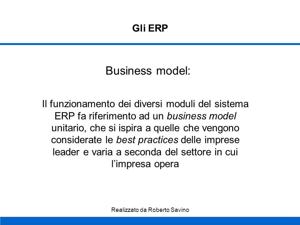 Realizzato da Roberto Savino Gli ERP Modularità dellapplicazione: il sistema ERP è costituito da più moduli in grado di funzionare anche separatamente