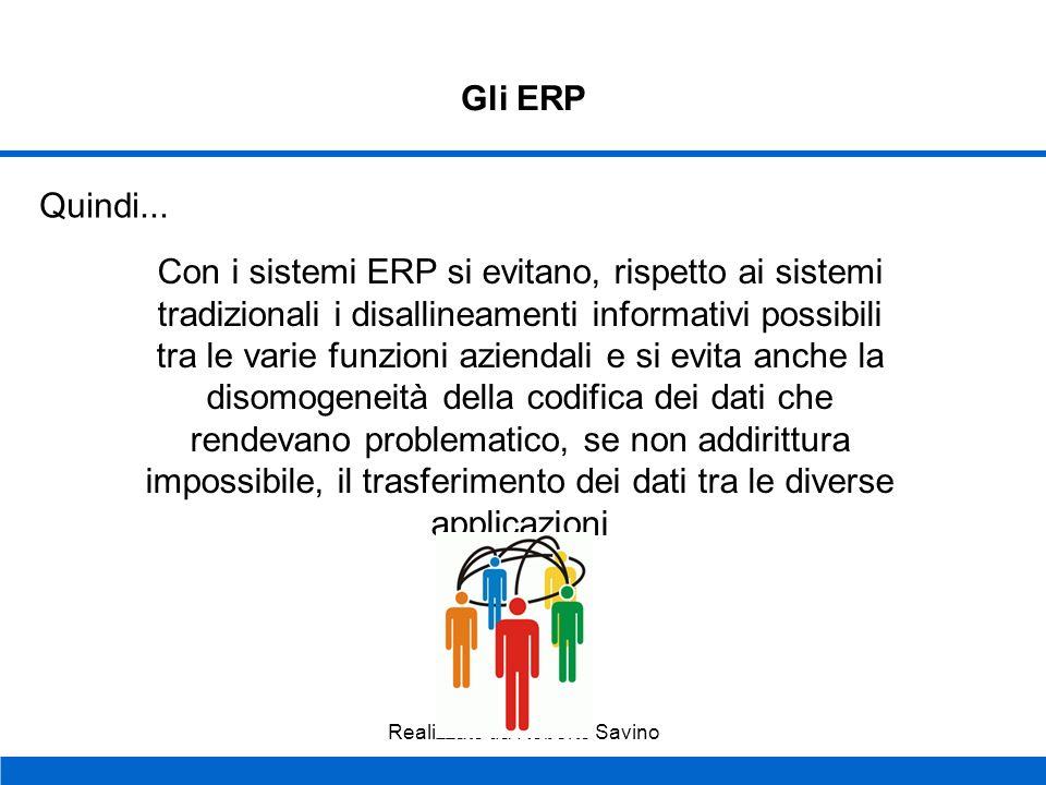 Realizzato da Roberto Savino Gli ERP Database unico: Tutti i moduli del sistema ERP operano con i dati di un unico database che interagisce con tutte