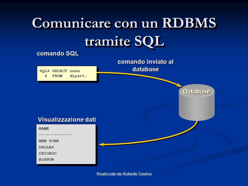 Realizzato da Roberto Savino Proprietà di un Database Relazionale Un database relazionale Un database relazionale può essere acceduto e modificato att