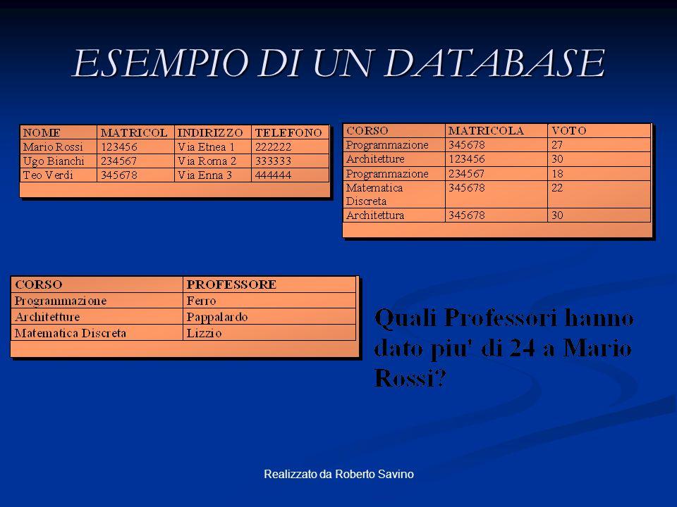 Realizzato da Roberto Savino Relational Database Management System Tabelle utente dizionario dizionariodati Server
