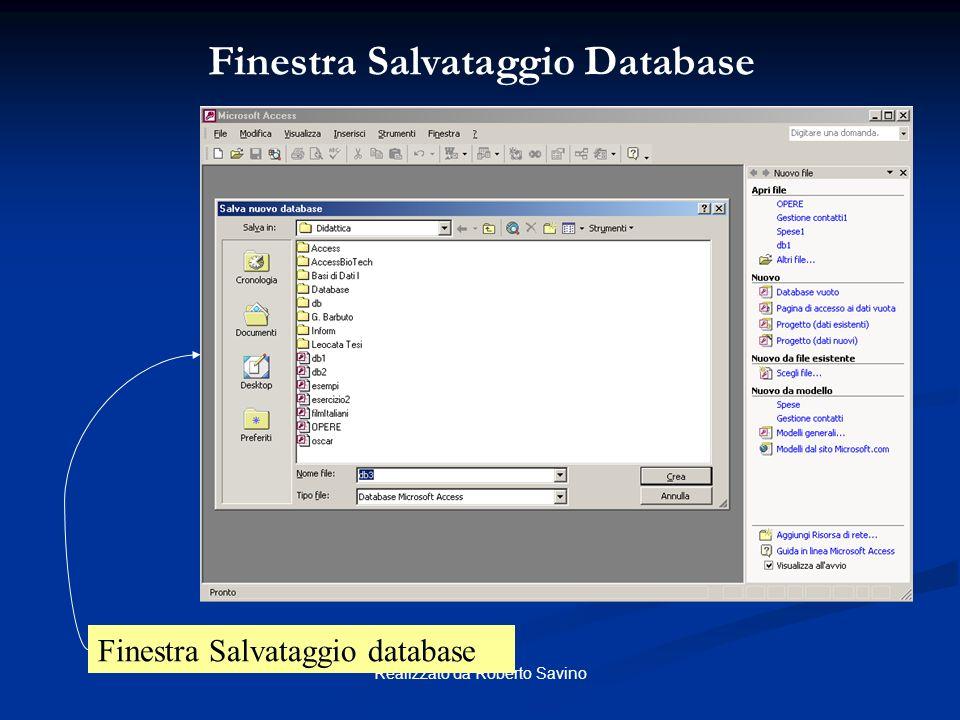 Realizzato da Roberto Savino Barra dei menu Barra degli strumenti Barra di stato ACCESS: Interfaccia principale del programma