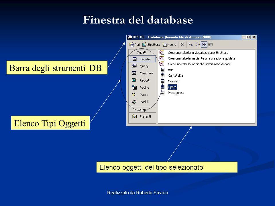 Realizzato da Roberto Savino Finestra Salvataggio database Finestra Salvataggio Database