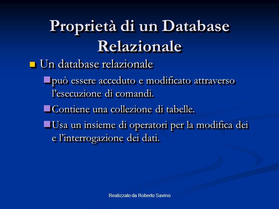 Realizzato da Roberto Savino Relazioni tra Tabelle Ogni riga della tabella è identificata in maniera univoca da una chiave primaria. Table Name: EMP T