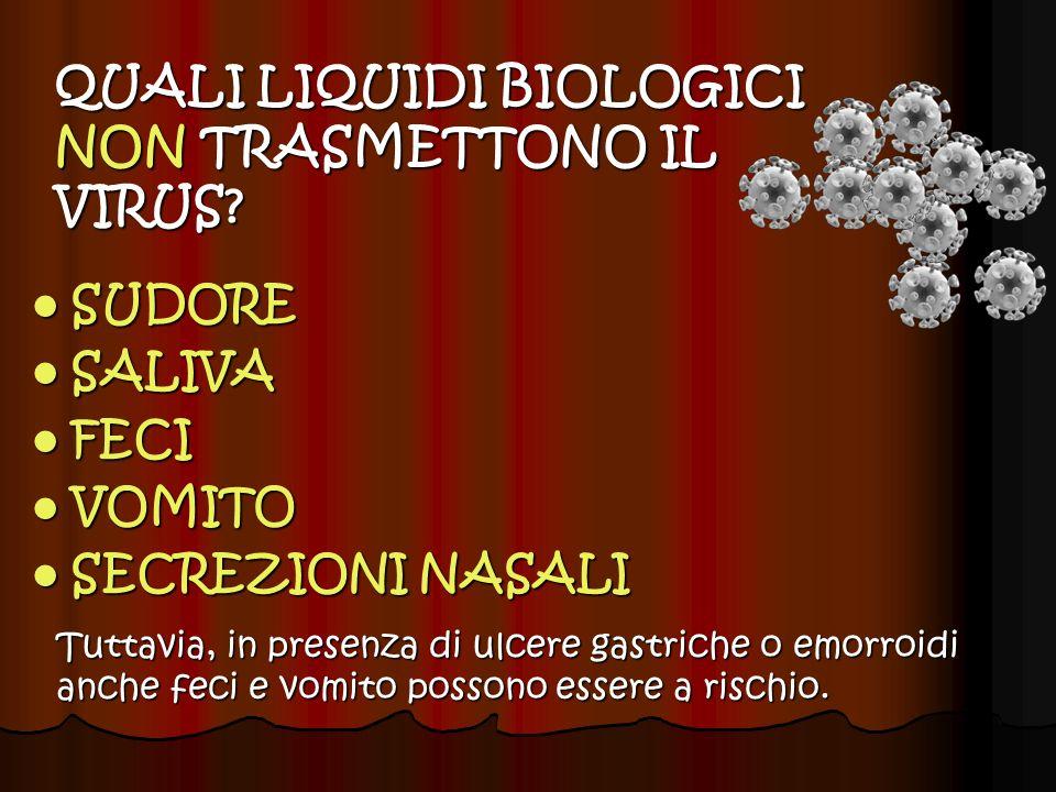 QUALI LIQUIDI BIOLOGICI TRASMETTONO IL VIRUS.
