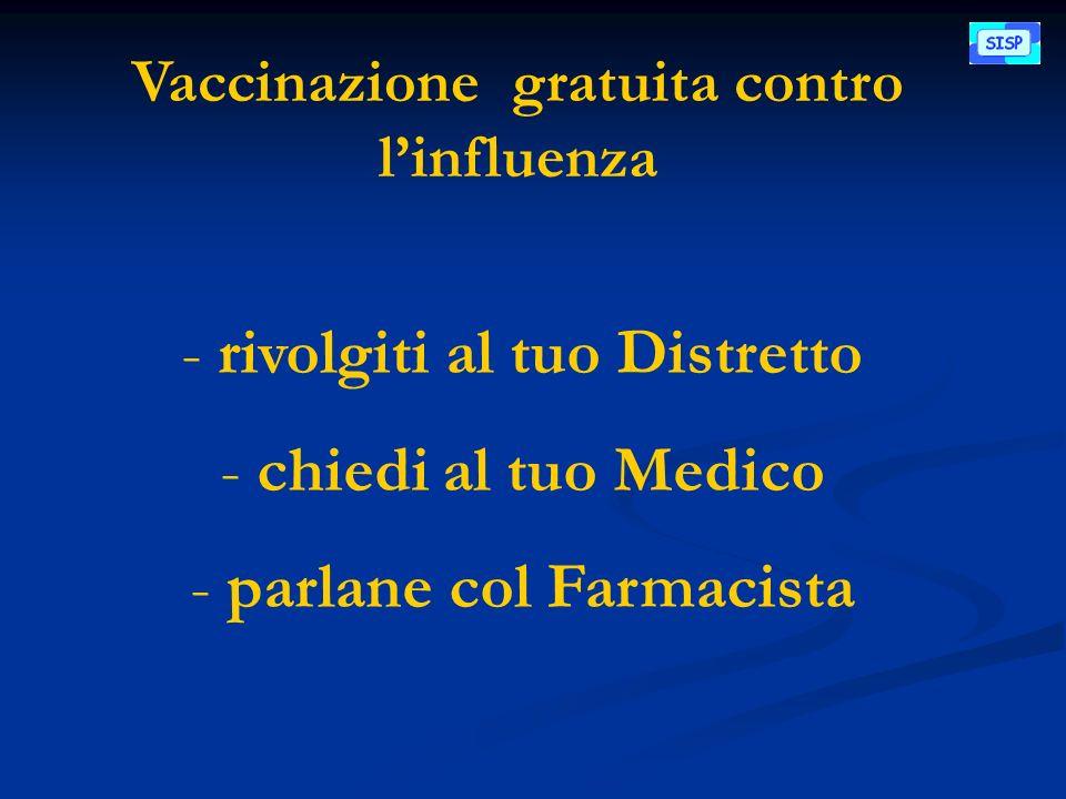 Vaccinazione gratuita contro linfluenza - rivolgiti al tuo Distretto - chiedi al tuo Medico - parlane col Farmacista