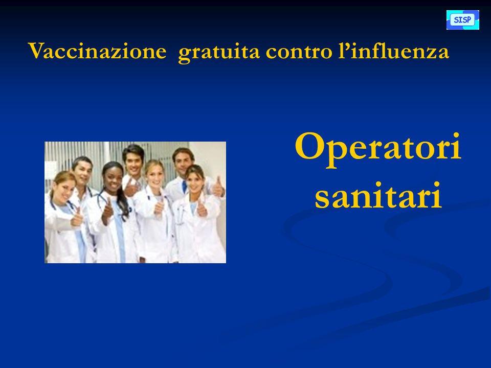Vaccinazione gratuita contro linfluenza Operatori sanitari