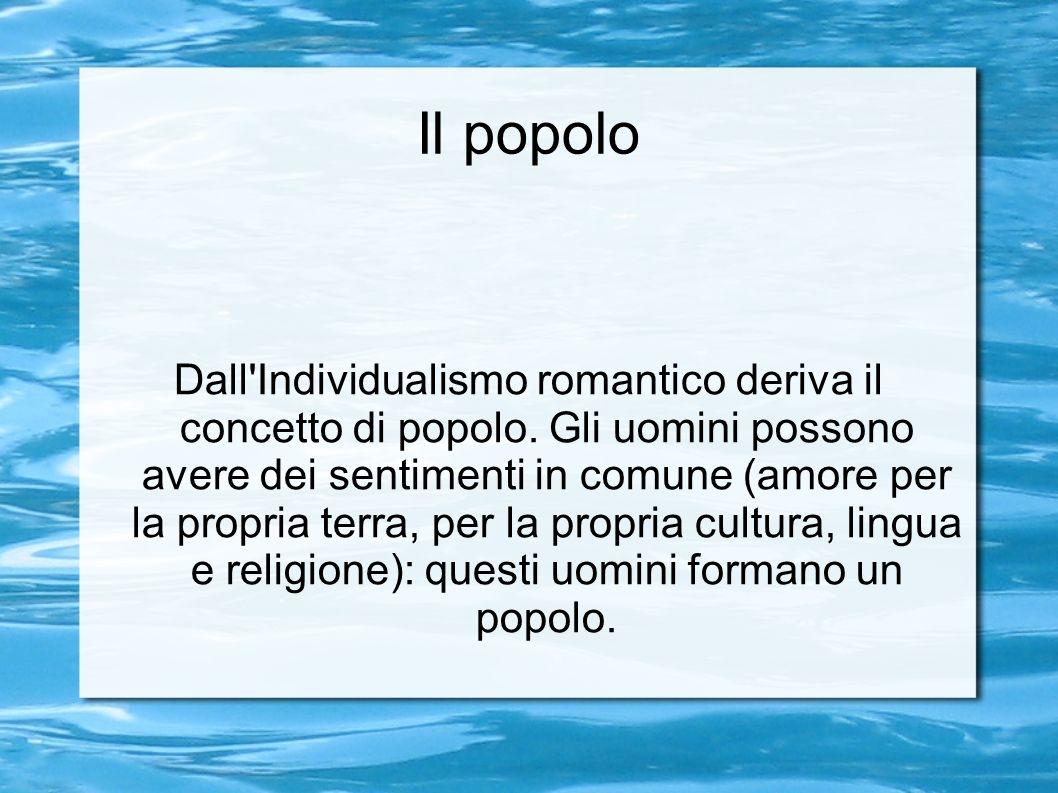 Il popolo Dall Individualismo romantico deriva il concetto di popolo.