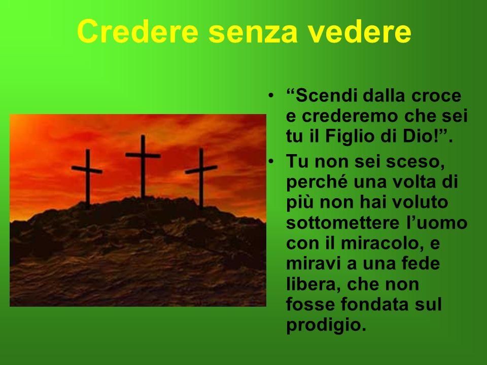 Credere senza vedere Scendi dalla croce e crederemo che sei tu il Figlio di Dio!. Tu non sei sceso, perché una volta di più non hai voluto sottometter