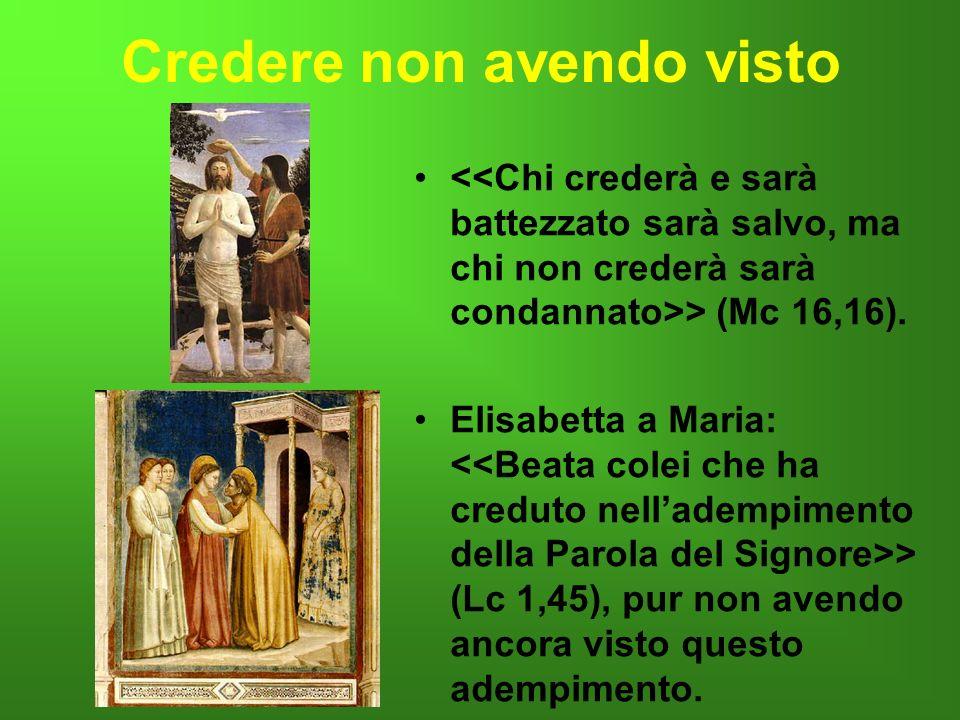 Credere non avendo visto > (Mc 16,16). Elisabetta a Maria: > (Lc 1,45), pur non avendo ancora visto questo adempimento..